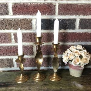 Brass graduated candle holders: 3 India import